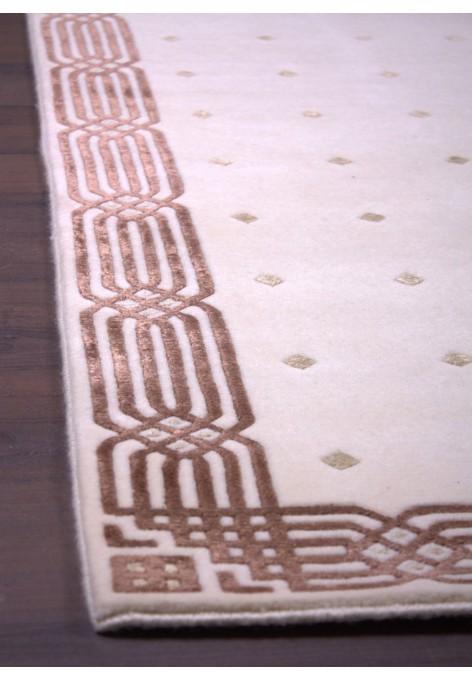 PAL-wool&silk-79x150_brown pattern/beige